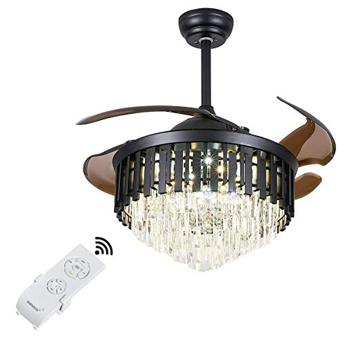 OUKANING Ventilador de techo de cristal con iluminación y mando a distancia, oculto, silencioso, 100 cm, oro pulido, 3 ajustes de color, mando a distancia y control de pared para salón