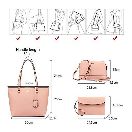 Handbags for Women Shoulder Bags Tote Satchel Hobo 3pcs Purse Set Pink