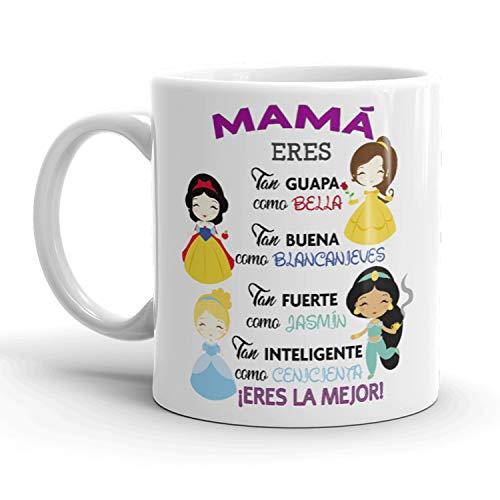 Kembilove. Taza de Café para Mamá con Frases Graciosas y Originales Mamá Eres Tan Guapa como Bella – Taza de Desayuno para Regalar el día del Madre – Tazas de Café para Madres y Abuelas
