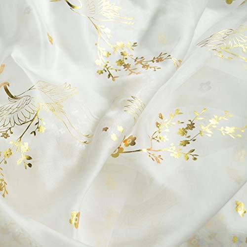 SQINAA Chiffon Stof Bronzing Kraan Patroon Ultradunne Oude Kostuum Chinese Stijl Zacht En Elegant Geschikt Voor Het Maken Van Dames Rok Shirt 150X50 Cm,Gold on white