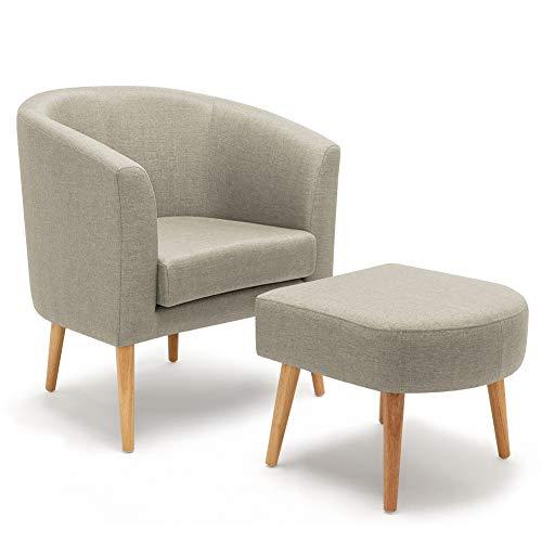 Meerveil Sessel mit Hocker, Ohrensessel moderner Stoff Relaxsessel Fernsehsessel geeignet für Wohnzimmer Schlafzimmer und Büro (Hellgrau)