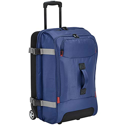 AmazonBasics Rolling Travel Duffel Bag Luggage with Wheels, Medium, Blue