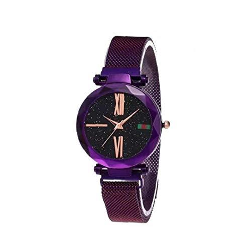 Sanfiyya Reloj de Las Mujeres de Cuarzo analógico Relojes de Pulsera Movimiento con el Cielo Estrellado de la PU Impermeable Brazalete clásico de Acceso telefónico número Romano Reloj 1pc púrpura
