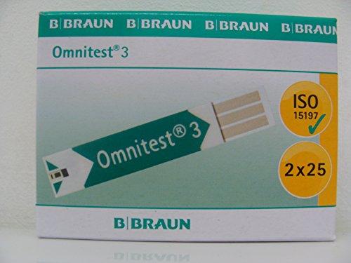 Omnitest 3 Blutzucker Teststreifen, 50er packung, Braun