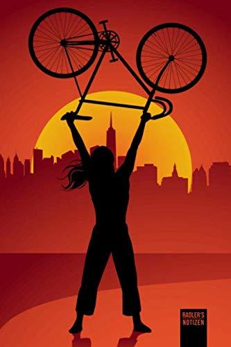 RADLER'S NOTIZEN PUNKTRASTER NOTIZBUCH: 6x9 Zoll (ähnlich A5 Format) Merkbuch mit fixed gear Rennrad Fahrrad Frau Cover tolles Geschenk für Männer Frauen Kinder