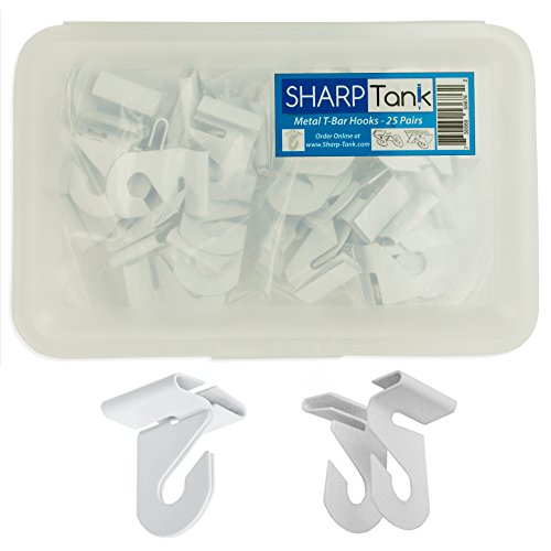 SharpTank Classroom Ceiling Hooks (Pack of 25 Pairs - 50 Pieces Total) - High Strength Aluminum Ceiling Track Bar-Clamp Fastener Designed for Drop-Ceiling T-Bars - Holds up to 15 lbs