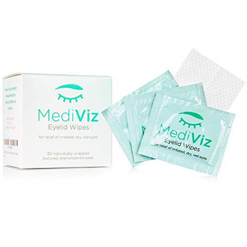 MediViz Eyelid Wipes Help You Avoid Crusty Eyelashes, Eyelid Bumps, Ocular Allergies, Demodex Mites, Clogged Meibomian Glands, Inflamed Skin Conditions - Great for Exfoliating and Hypoallergenic