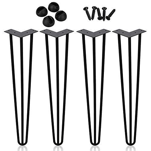 Hengda 4X Tischbein Hairpin Legs Tischgestell Möbelbein Haarnadelbeine Tischzubehör DIY 35cm 3-Stange, für Esstisch Couchtisch Schreibtisch