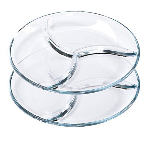 ChasBete Servierteller Glasteller, Snackteller mit Fächern, Süßigkeiten Schale, Menüteller für Erwachsene & Kinder, D25 cm 2er Set
