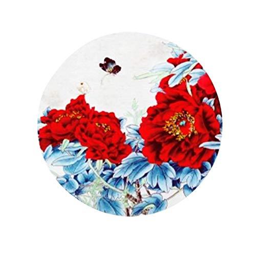 W/C/X Tappeto Rotondo Floreale Rosso in Stile Cinese Decorazione della Casa Camera da Letto Studio Tappeto Lavabile per Sedia da Ufficio(Color:WCX-001,Size:160x160cm)