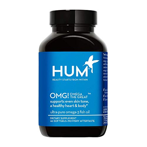 HUM OMG! Omega The Great - High Potency Omega 3 Fish Oil Supplement to Support Bright & Even Skin Tone - Gluten Free & Non-GMO (60 Softgels)