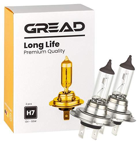 Gread - 2x H7 Halogen Lampen - passgenau und widerstandfähig - längere Lebensdauer Longlife