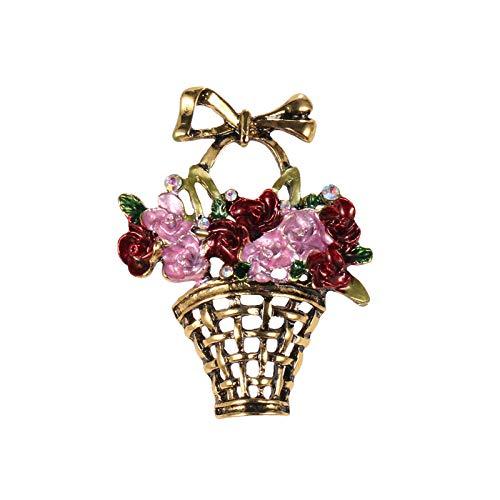 KXBY goud kleur vergulde geëmailleerde metalen bloem mand broches broche accessoires