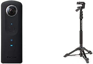 RICOH THETA S 360度 全天球カメラ 910720+SLIK 一脚兼簡易三脚 スタンドポッドGX-N 4段レバーロック式 3ウェイ雲台 クイックシュー式 217122