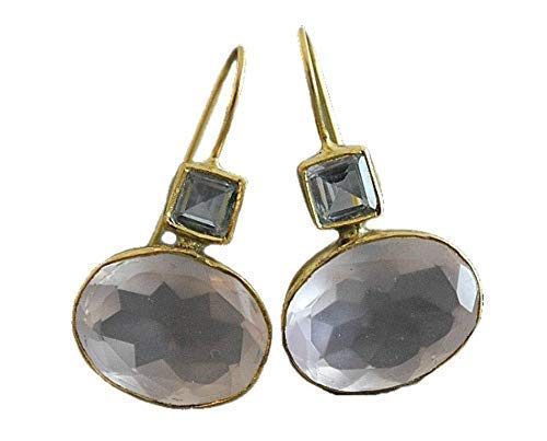 Limited time for free shipping Blue Topaz and Rose Quartz Drop Gift - Earrings Jewelry Gemstone Al sold out.