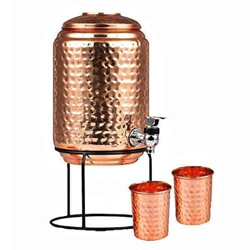 WorldOfIndianArt Presents 100 Copper 5 Litre Hammered Copper Water Dispenser Container Pot with 2 Copper Glass 300ml and Stand 100 Pure Copper 5000 ml
