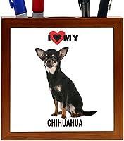 Rikki Knight I Love My Black Chihuahua Dog Design 5-Inch Tile Wooden Tile Pen Holder (RK-PH44813) [並行輸入品]