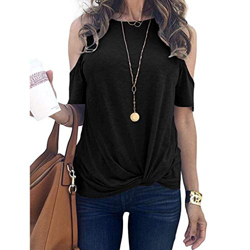 Big Save! Knotted Cold Shoulder Shirts Pocciol Womens Slim Fit Solid Color Short Sleeve Blouse Top C...