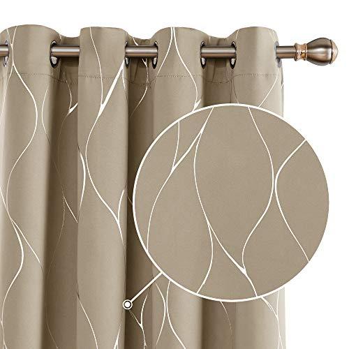 Deconovo Tende Oscuranti Termiche Isolanti Finestra Stampate per Soggiorno con Occhielli 140x240cm Taupe 2 Pannelli