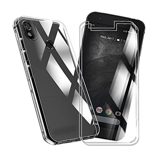 HJJS Durchsichtig Schutzhülle + [2 Stück] Bildschirmschutzfolie für CAT S52 (5.65 Zoll),Sanft Silicone Hülle Hülle Cover Stoßfestigkeit Handyhülle,für CAT S52 HD Schutzglas Film