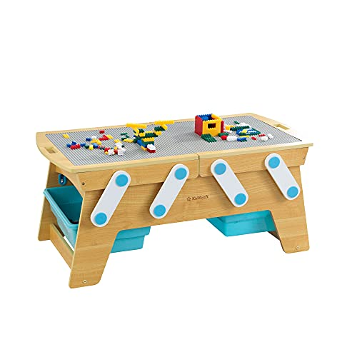 KidKraft Building Bricks Play N Store Wooden Table, Children's Toy Storage with Bins, 200+ Building Blocks Included, Natural, Gift for Ages 3+