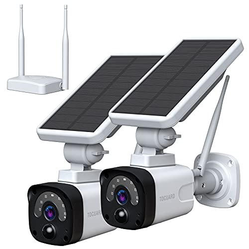 TOGUARD Security Camera Wireless Outdoor (Includes Base Station and 2 Camera) 1080P Waterproof Solar Security Camera Security Camera System with 2-Way Audio Night Vision PIR Motion Activated