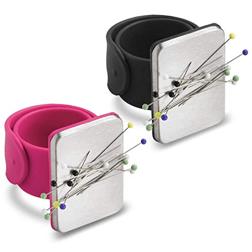 2 Pack Magnetic Wrist Sewing Pincushion, Pin Cushion Holder for Hair Clips Sewing, Silicone Wrist Strap Bracelet