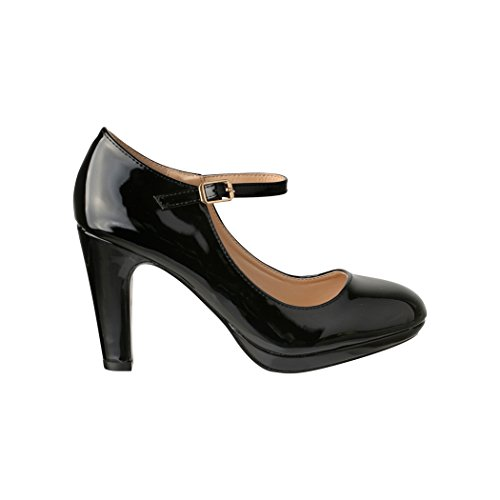 Damen Pumps | Bequeme High Heels Lack-Optik | Vintage-Style | Abendschuh - 3