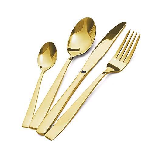 MEJAJU Set di Posate, 24 Pezzi Posate Acciaio Inox con Scatola Regalo, Set di Posate per 6, Lavabile in lavastoviglie (d oro)