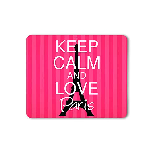 Moslion Keep Calm and Love Paris Mouse Pad Eiffel Tower Heart Stripe Beauty Style Pink Gaming Mouse Mat Non-Slip Rubber Base Thick Mousepad for Laptop Computer PC 9.5x7.9 Inch