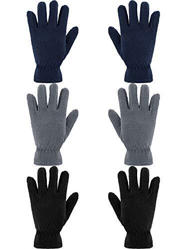 SATINIOR 3 Paar Kinder Fleece Handschuhe Winter Weiche warme Handschuhe für Jungen Outdoor Aktivitäten (Schwarz, Grau, Marine, 8-12 Jahre)