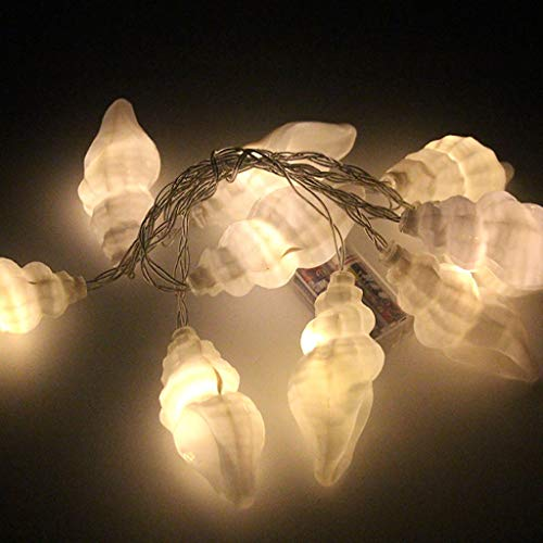 Clearance Sale! String Lights LEEDYSea Shell Fairy Lights - Battery Operated - 10 Warm White LEDs - Real Shells - Timer by Festive Lights