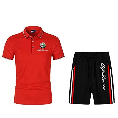 Xilinmen T-Shirt Estiva da Uomo Alfa-Romeo Polo T-Shirt Pantaloncini A Maniche Corte, Polo da Uomo Felpa A Maniche Lunghe Felpa A Maniche Corte Camicie A Maniche Corte,Rosso,XXL/XX~Large