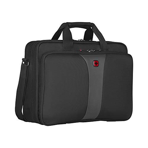 Wenger Legacy Aktentasche, Laptoptasche zum Umhängen, Notebook bis 16 Zoll, 15 l, Damen Herren, Büro Business Uni Schule, Schwarz/Grau