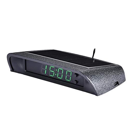 likeitwell Solarbetriebenes LCD Auto Auto Digital LED Elektronisches Zeitschaltthermometer