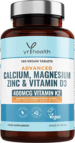 Calcium Magnesium Zinc Vitamin D 2000iu & Vitamin K2 MK-7 400mcg Supplement - 180 Vegan Tablets - Osteo Supplement – Made in The UK by YrHealth