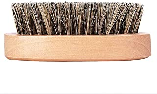 100% Natural Wooden Dual Boar Hair Bristle Beard and Hair Brush for Men. Solid Beechwood and Engraved Contour Design with Travel Case