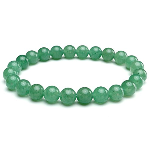 JSDDE Unisex Womens 8MM Semi-Precious Gemstones Healing Energy Crystal Elastic Beaded Bracelets,Green Aventurine