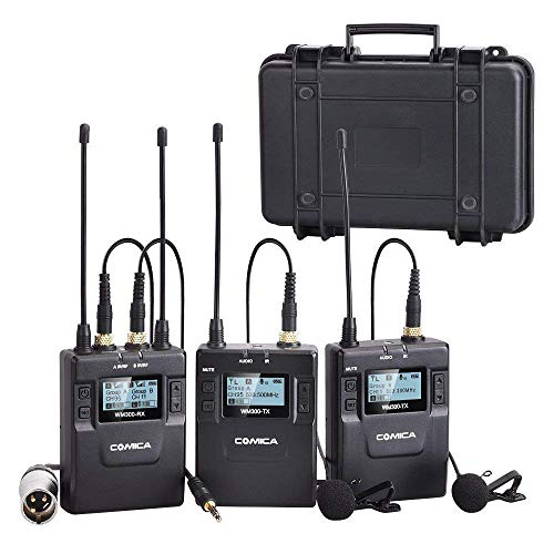 Dual Wireless Lavalier Microphone System,Comica CVM-WM300A UHF 96 Channel Professional Lapel Lav Microphone for Canon Nikon Sony Camera XLR Camcorder iPhone Youtube Interview Vlog Recording(2TX+1RX)