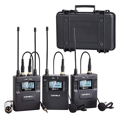 Comica CVM-WM200(A) 84 canaux Full Metal UHF Professionnel sans Fil Double système de Microphone Cravate pour Canon Nikon Sony Caméra, iPhone/iPad/Smartphones et caméscopes XLR (394-Foot Range)