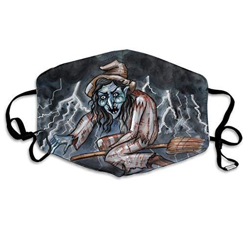Mundschutz Aquarell-Illustration des bösen Hexengesichts-Schals waschbar wiederverwendbarer Unisex-weicher und bequemer für Männer und Frauen Mädchen Junge
