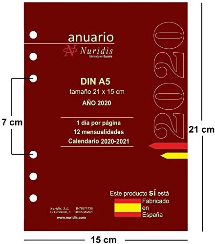 Recambio de agenda español. Año 2020. 1 día por página. DIN A5 (21 x 15 cm): Amazon.es: Oficina y papelería
