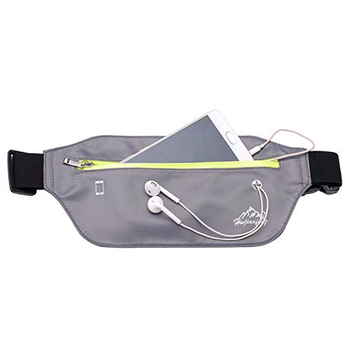 Slim Running Belt Fanny Pack, Ultra Light Waist Pouch Fitness Workout Belt Sport Exercise Waist Bag Pack for All Phone: Apple iPhone 8 X 7 6+ 5s Samsung in Running Gym Marathon Cycling(Grey)