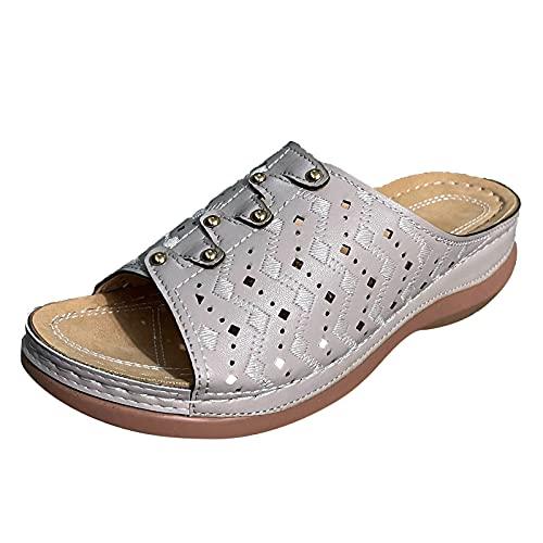 TYTUOO Sandalias de plataforma huecas para mujer, zapatillas de playa, zapatos casuales, retro, con arco plano, soporte para verano, puntera abierta, transpirable, para mujer, A Beige., 37.5 EU