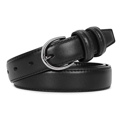 Black Leather Belts for Women Fashion Skinny Waist Belt for Jeans Dresses Pants With Classic Pin Buckle Belt Width 1.1 Inch