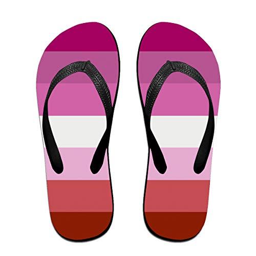 Iop 90p Lesbian Pride Flag Flip Flops Hausschuhe Strand Sandalen Pool Schuhe, PVC, Schwarz, S