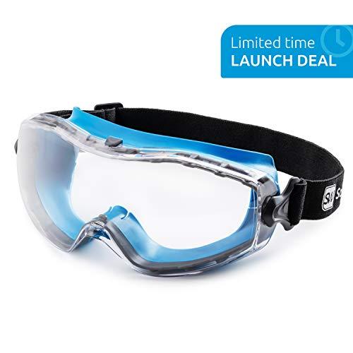 SolidWork Schutzbrille mit universeller Passform, Schutzbrille mit klaren, beschlagfreien, kratzfesten und UV-geschützten Linsen, Brille für den Augenschutz