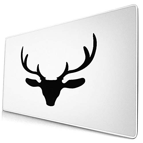 HASENCIV Large Gaming Mouse Pad,Black Silhouette Of Reindeer Head With Big Horns Isolated On White Background,Non-Slip Base Desk Pad,Laptop Keyboard Mouse mat for Home,Office,Work 75x40cm