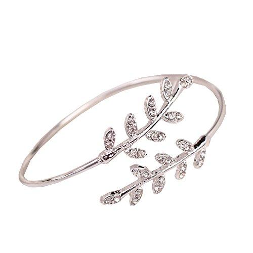 Qiuday Damen Armband Offener Armreif | Cuff Armband in Goldfarbe nickelfrei Art- und Weisefrauen-Blatt-Stulpe-Charme-geöffnetes Armband-Armband-Armschmucksachen
