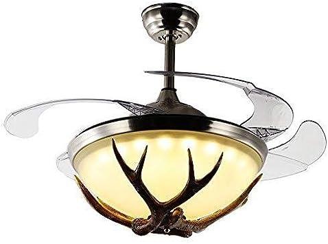 WangchngqingDD Lampara Araña, Ventilador de techo industrial del viento Cuerno luz decorativa, retro grande del viento invisible del restaurante del dormitorio del ventilador de la lámpara, LED modern